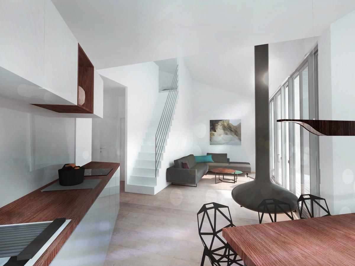 Hébergement de loisir, appartement de vacances avec balcons et centre spa, appartement en double hauteur, cuisine contemporaine, escalier et cheminée