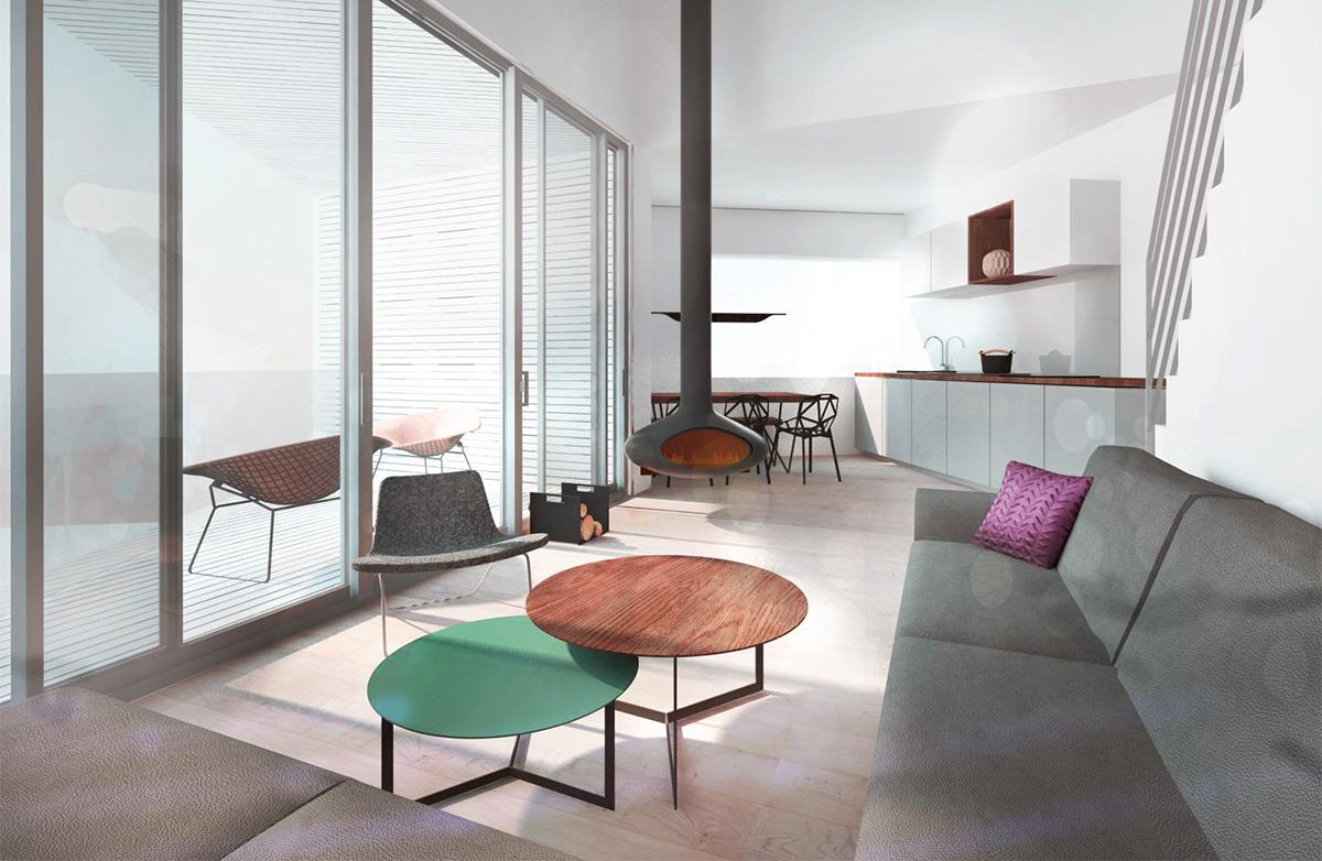 Hébergement de loisir, appartement de vacances avec balcons et salon cosy style scandinave avec cheminée