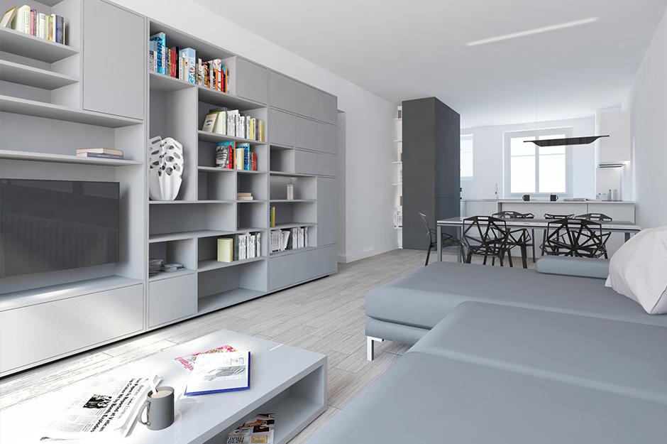 Rénovation d'un appartement contemporain à lyon avec un meuble central sur mesure. 3d du salon