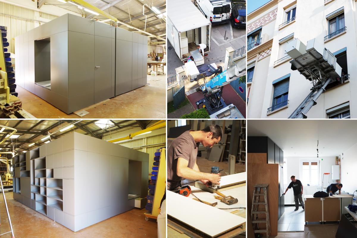 Rénovation d'un appartement contemporain à lyon avec un meuble central sur mesure fabriqué en atelier.