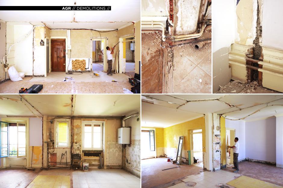 Rénovation d'un appartement contemporain à lyon avec un meuble central sur mesure. photos de la démolition.
