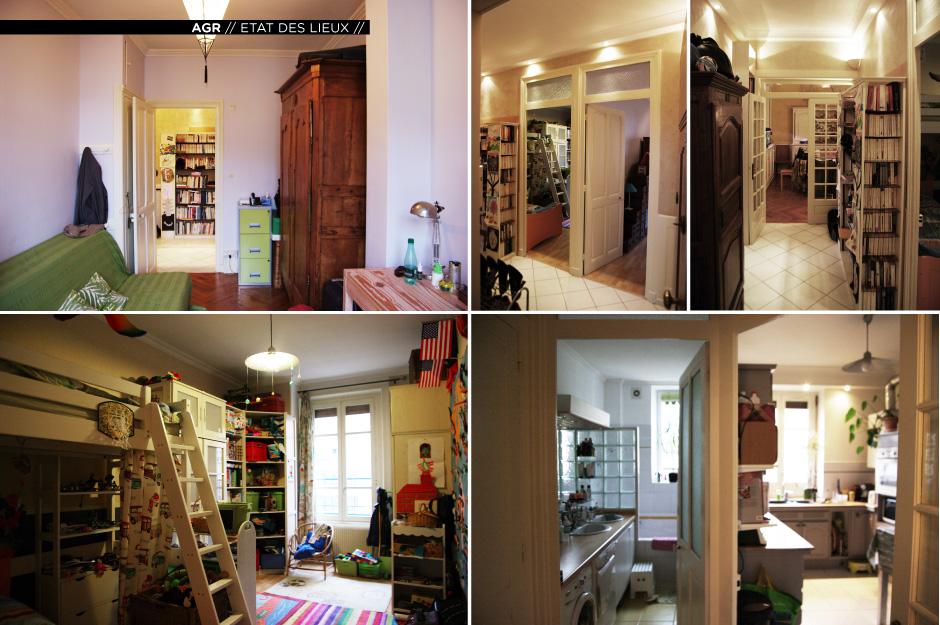 Rénovation d'un appartement contemporain à Lyon avec un meuble central sur mesure. Etat des lieux