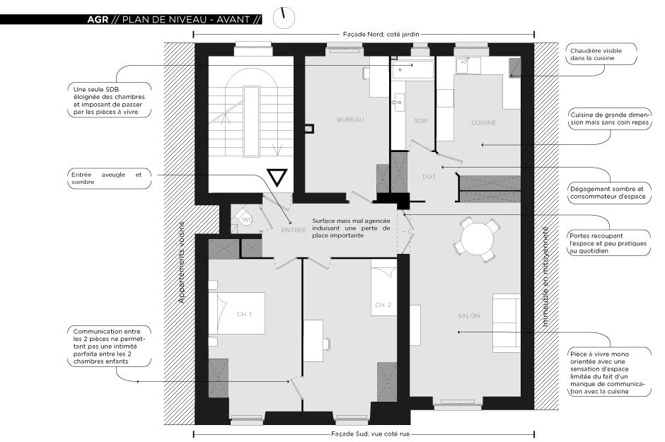 Rénovation d'un appartement contemporain à Lyon avec un meuble central sur mesure. Plan de l'état des lieux.