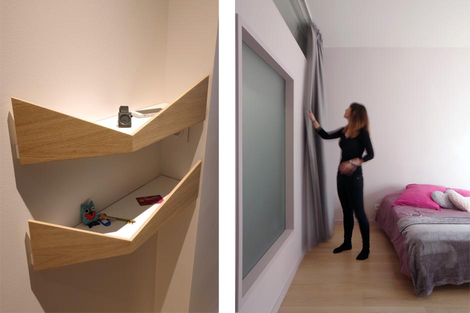 Rénovation d'un appartement contemporain à Lyon avec un meuble central sur mesure. Détails des vide poches sur mesure et de la fenêtre intérieure.