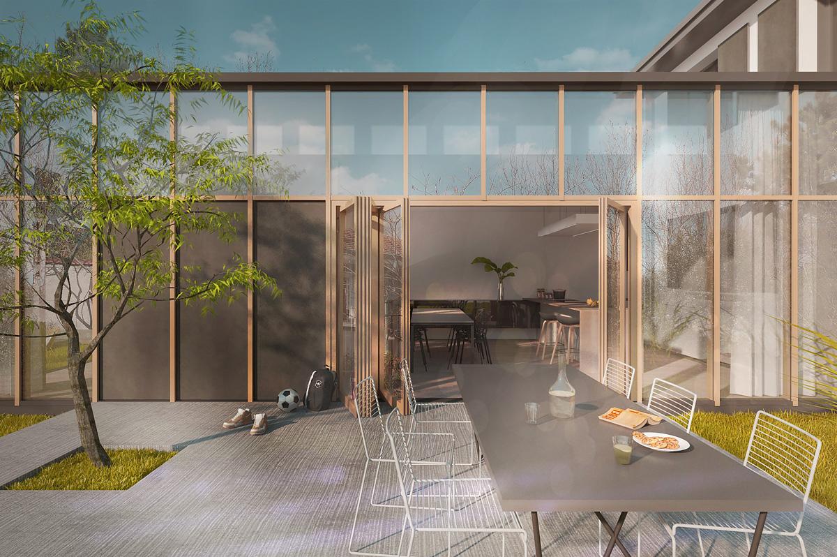 Rénovation et extension contemporaine d'une maison à Caluire de type verrière d'atelier. Larges ouvertures sur la terrasse.