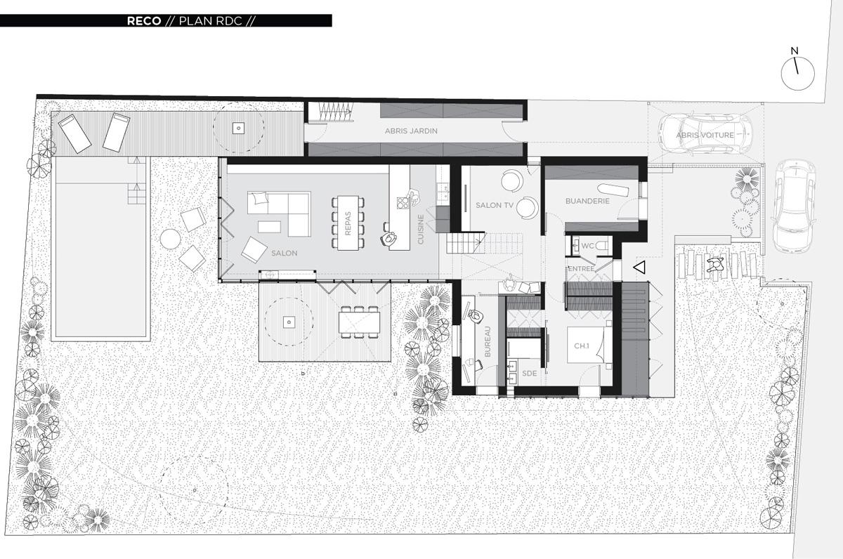 Rénovation et extension contemporaine d'une maison à Caluire de type verrière d'atelier, plan rdc.