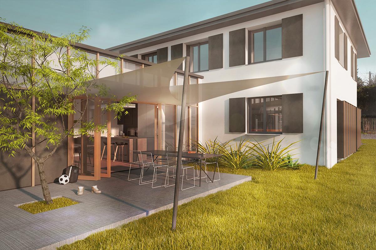 Rénovation et extension contemporaine d'une maison à Caluire de type verrière d'atelier, vue de la terrasse et pergolas