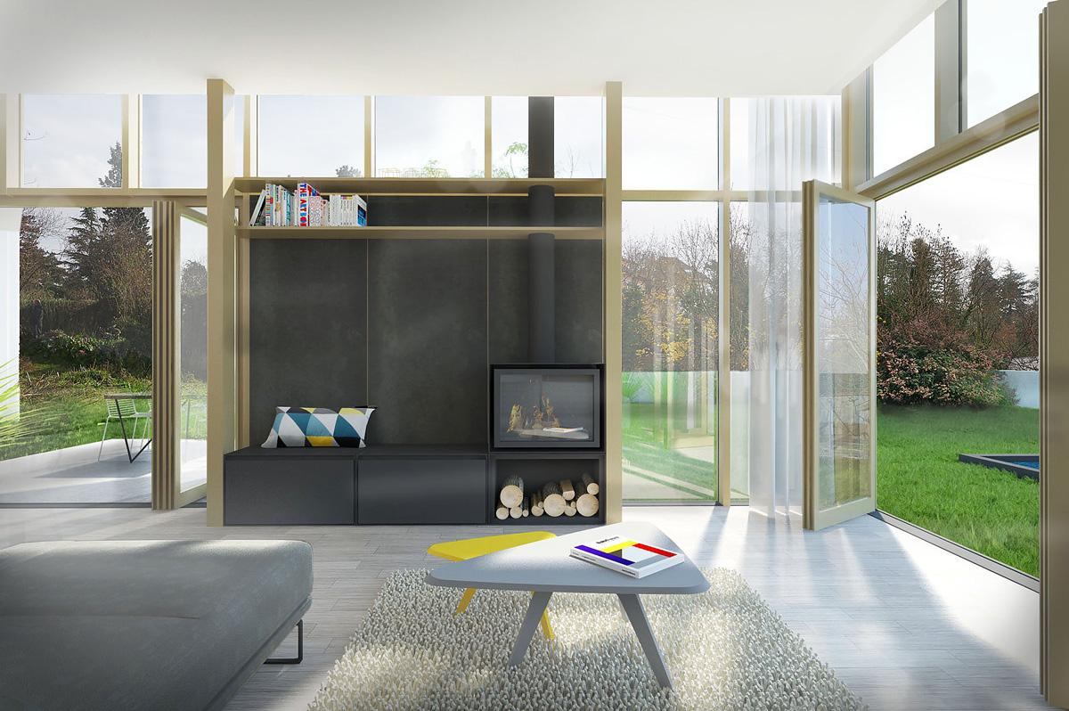 Rénovation et extension contemporaine d'une maison à Caluire de type verrière d'atelier, meuble cheminée et baie vitrée.