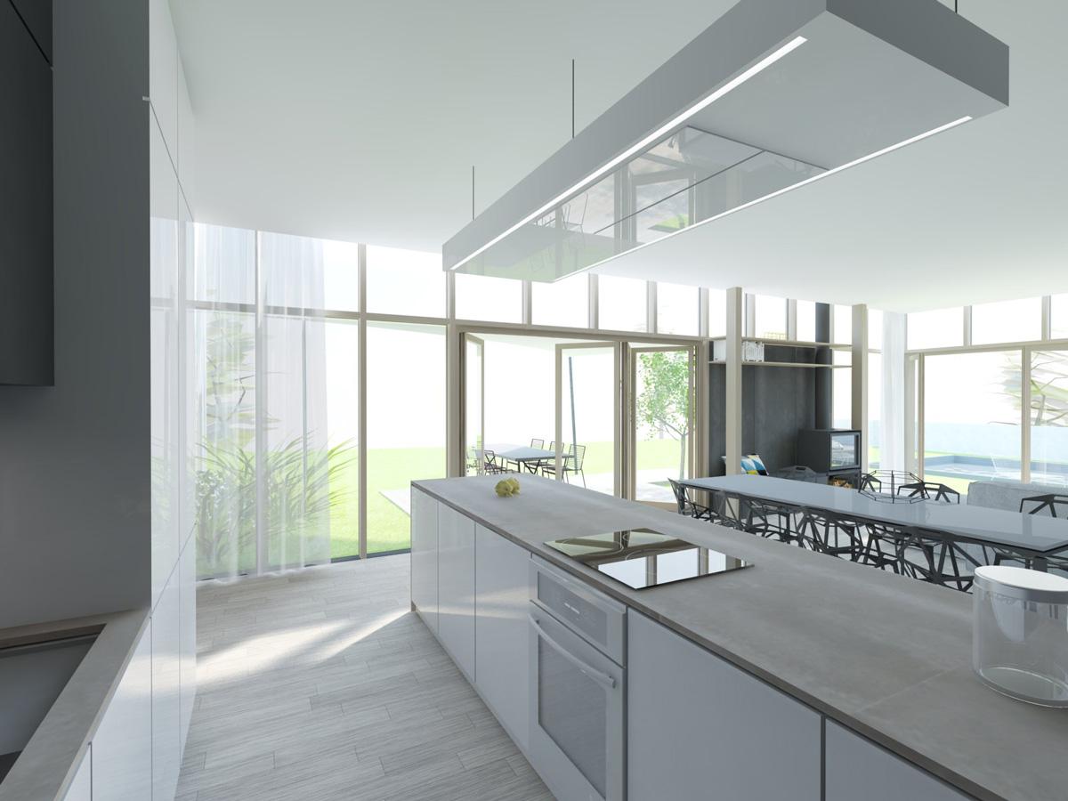 Rénovation et extension contemporaine d'une maison à Caluire de type verrière d'atelier, cuisine ouverte sur la terrasse.