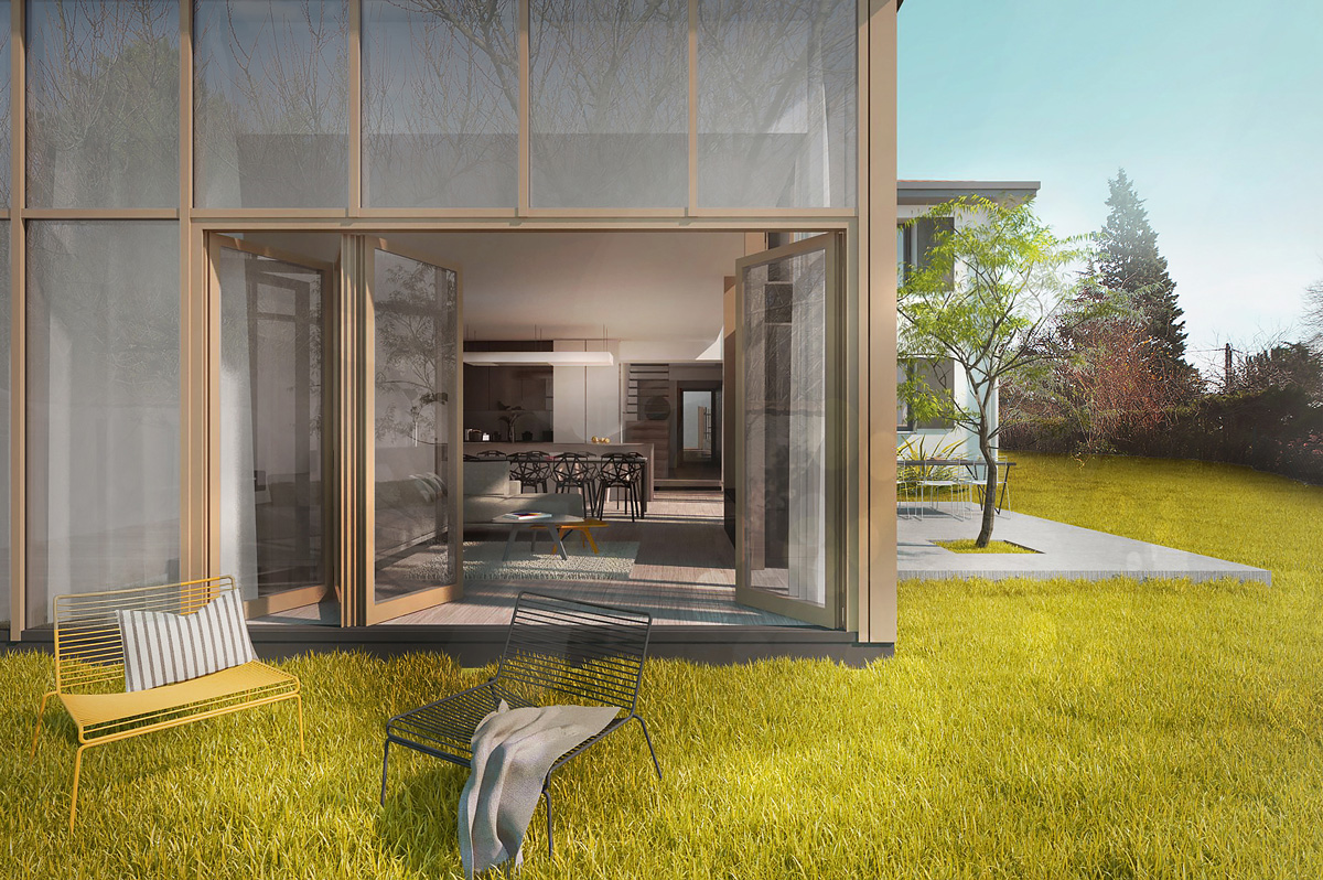 Rénovation et extension contemporaine d'une maison à Caluire de type verrière d'atelier, ouverture sur le jardin.