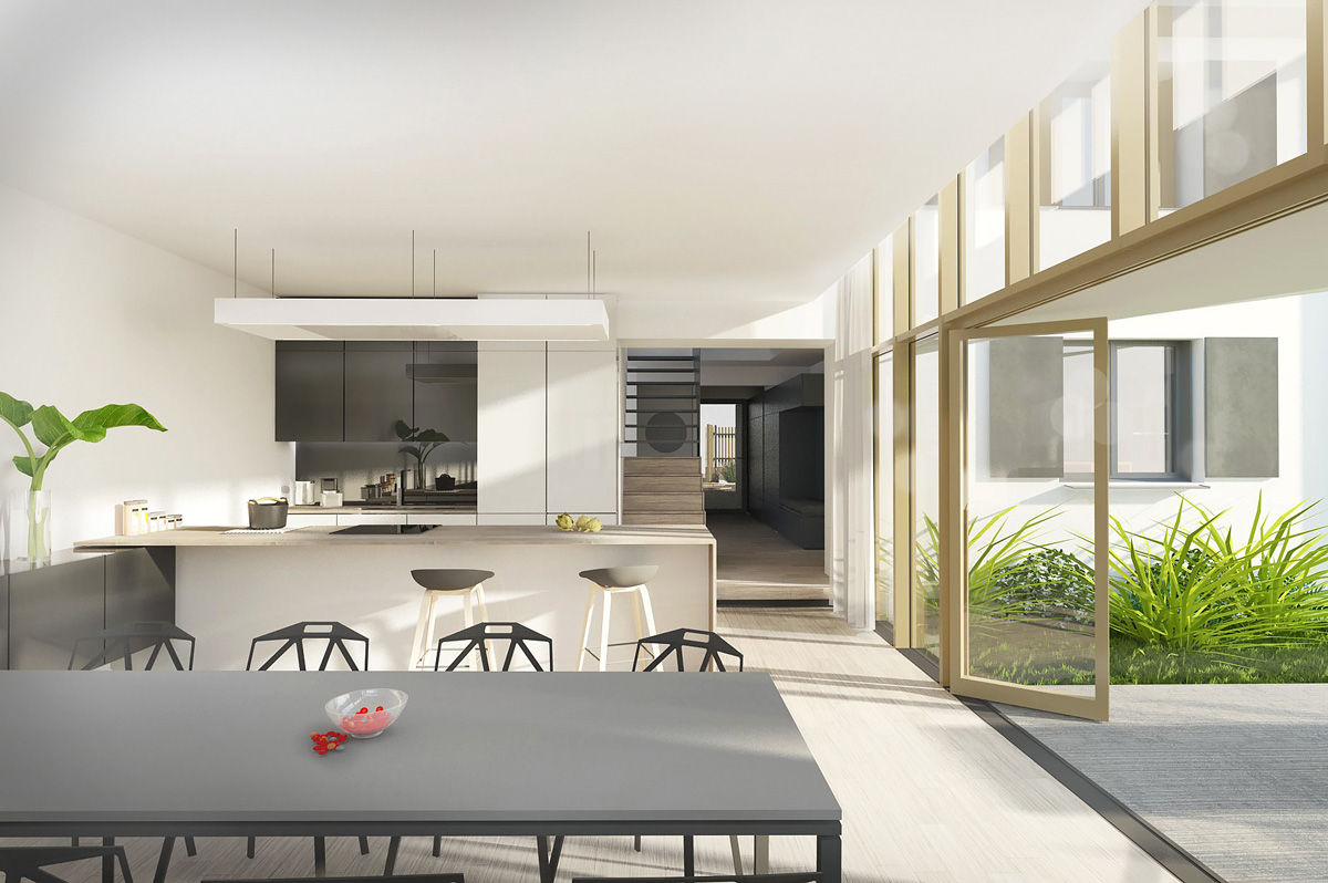 Rénovation et extension contemporaine d'une maison à Caluire de type verrière d'atelier, cuisine ouverte sur le salon.