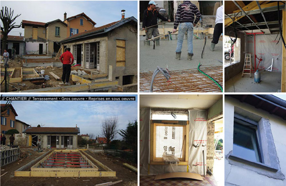 Extension contemporaine à Caliure et Cuire en ossature bois et parement ciment Viroc. Chantier gros oeuvre.