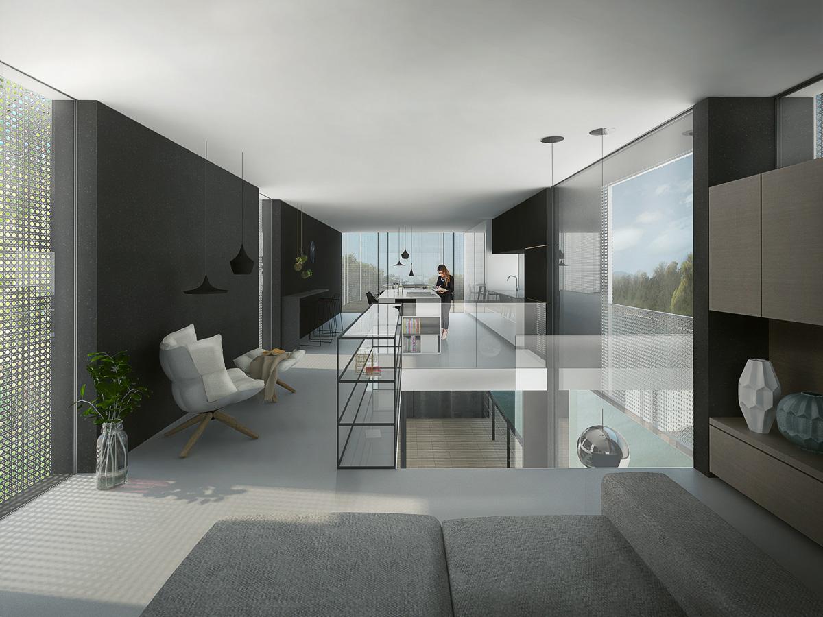 Rénovation d'une péniche bateau en maison flottante contemporaine par Dank, architecte sur Lyon avec une piscine à débordement. Vue du salon, cuisine ouverte noir et blanc.