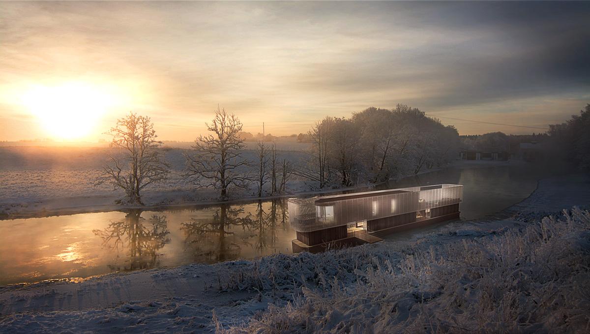 Rénovation d'une péniche bateau en maison flottante contemporaine par Dank, architecte sur Lyon avec une piscine à débordement. Vue de loin, volume contemporaine et résille métallique.