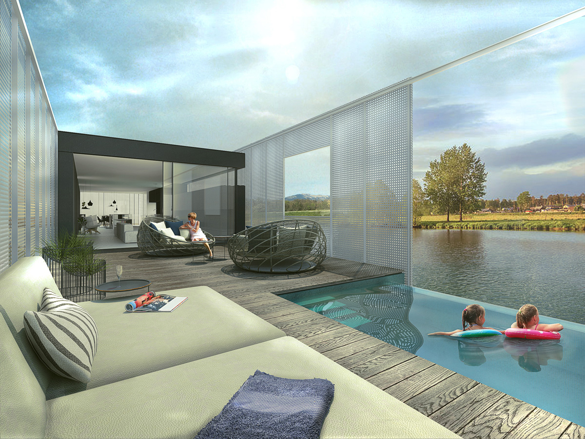 Rénovation d'une péniche bateau en maison flottante contemporaine par Dank, architecte sur Lyon avec une piscine à débordement. Piscine à débordement et terrasse bois.