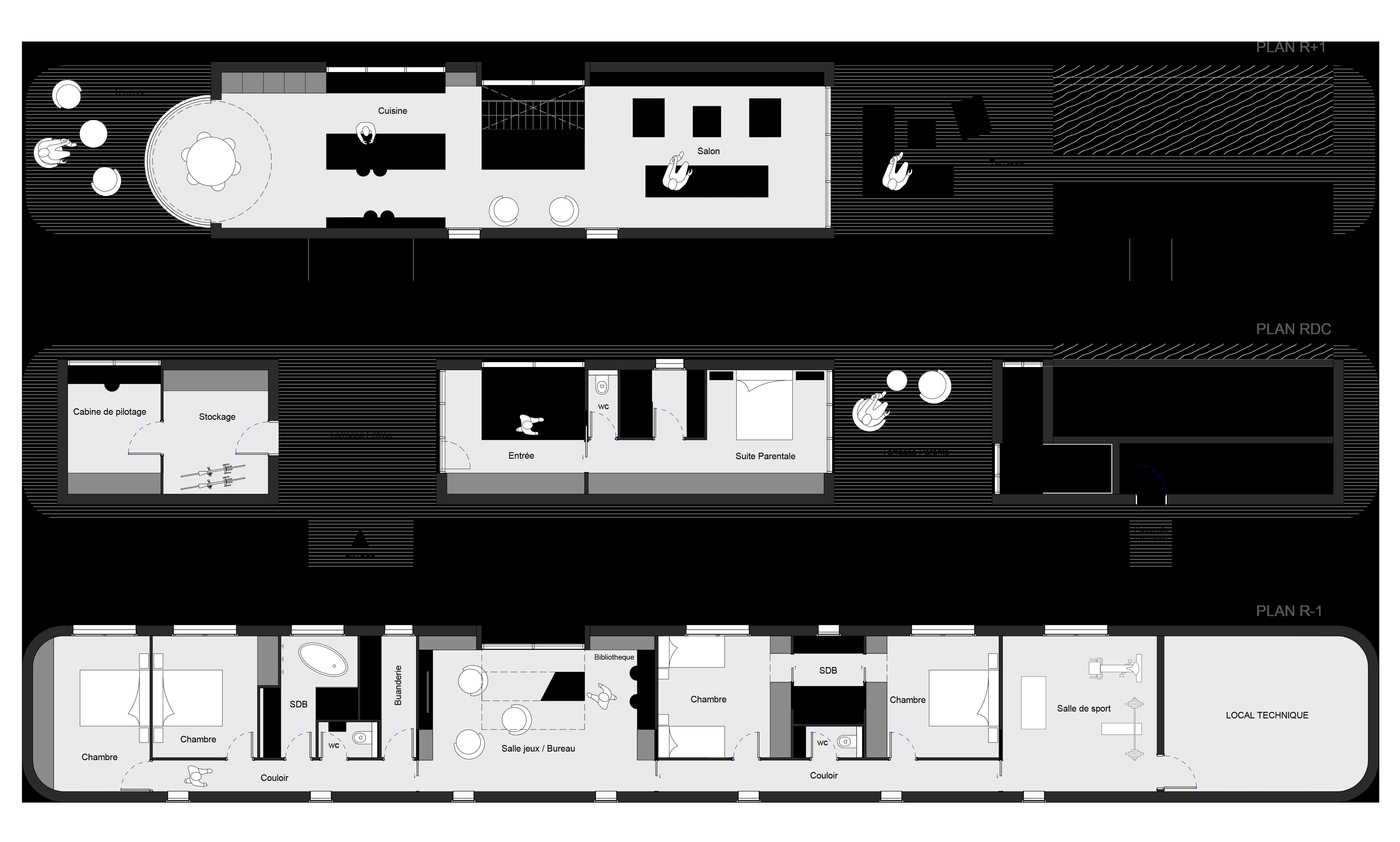 Rénovation d'une péniche bateau en maison flottante contemporaine par Dank, architecte sur Lyon avec une piscine à débordement. Plan de la péniche.