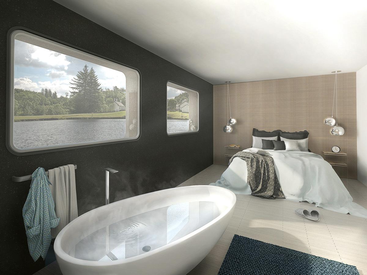 Rénovation d'une péniche bateau en maison flottante contemporaine par Dank, architecte sur Lyon avec une piscine à débordement. Chambre parentale avec salle de bain ouverte et baignoire îlot.