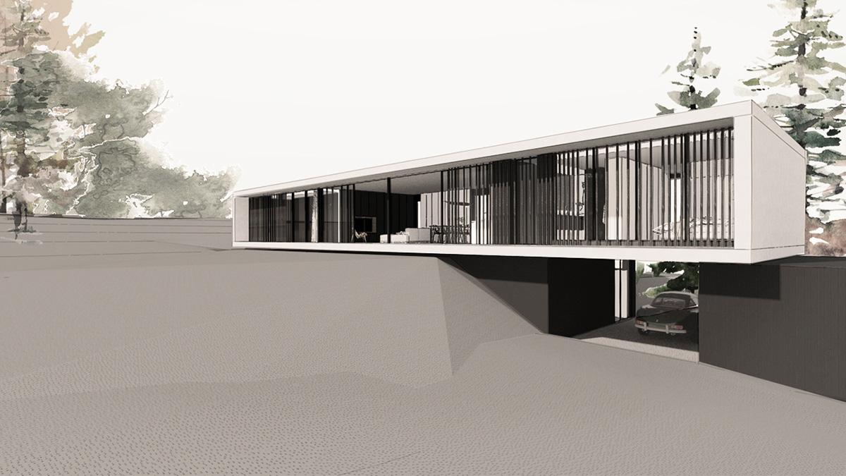 maison-contemporaine-minimaliste-beton-lyon-savoie-facade-architecte-porte-a-faux-garage-bloc-cube-bois-brulé
