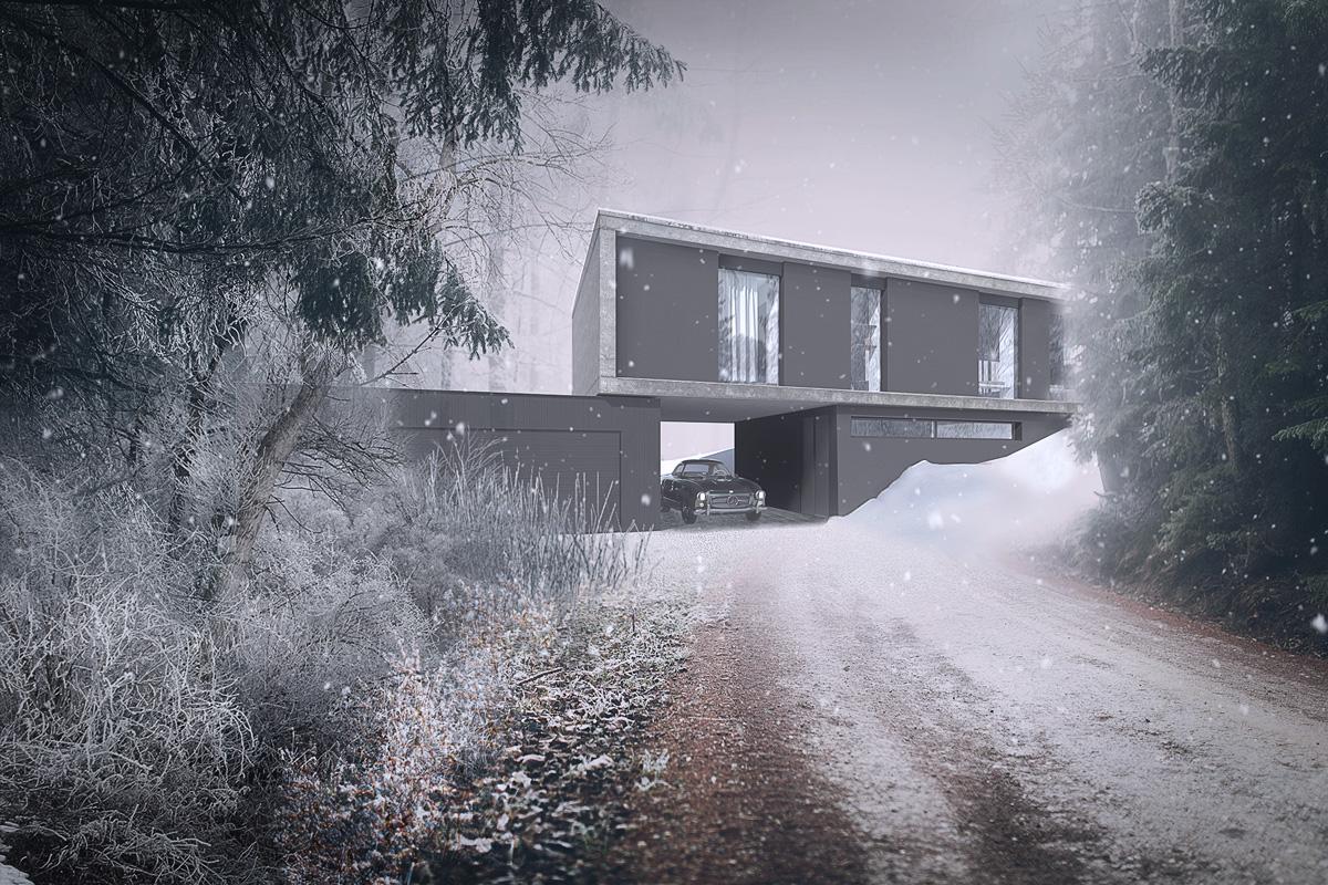 maison-contemporaine-minimaliste-beton-lyon-savoie-perspective-neige-entree-garage-porte-a-faux