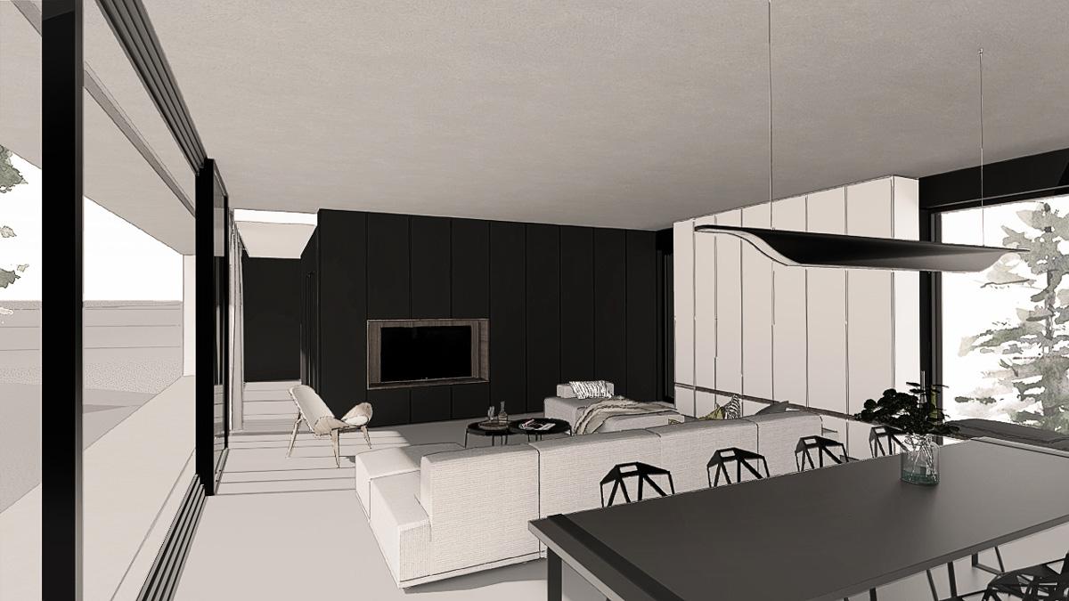 maison-contemporaine-minimaliste-beton-lyon-savoie-salon-ouvert-salle-a-manger-meuble-tv-integrée
